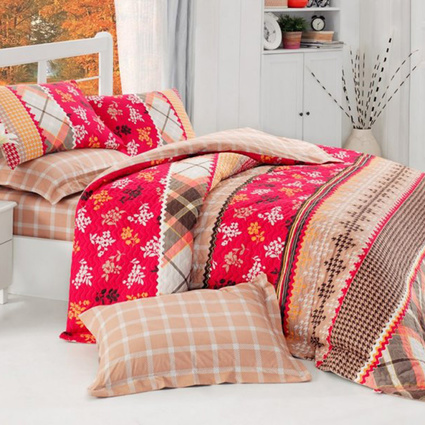 Cotton Box Çift Kişilik Dört Mevsim Set - Serafima Kırmızı