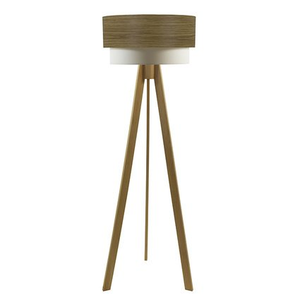 Crea Lighting Doubleshade Tripod Lambader Wood