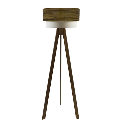 Crea Lighting Doubleshade Tripod Lambader Wood Teak