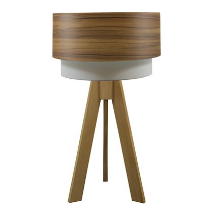 Crea Lighting Doubleshade Tripod Abajur Wood Elma