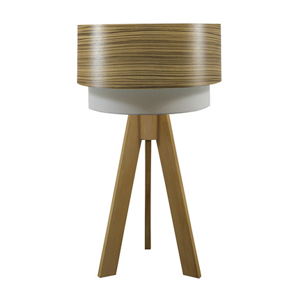 Crea Lighting Doubleshade Tripod Abajur Wood Zeytin