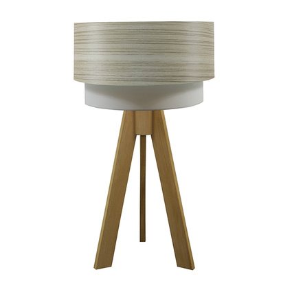 Crea Lighting Doubleshade Naturel Tripod Abajur Wood Borame