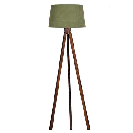 Ege Light 3 Ayaklı Koyu Yeşil Şapkalı Ceviz Lambader