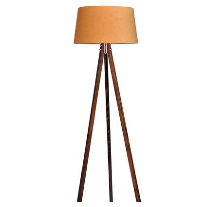 Ege Light 3 Ayaklı Hardal Şapkalı Ceviz Lambader