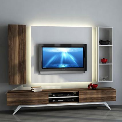 Sanal Mobilya Tv Ünitesi Leon Ceviz Beyaz