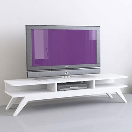 Sanal Mobilya New Retro Tv Sehpası Beyaz
