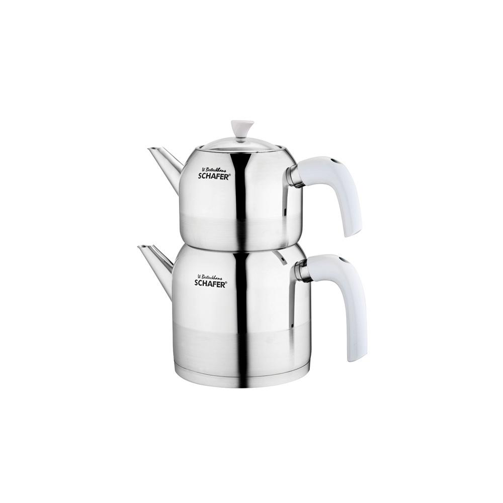 4 Parça Ada Büyük Boy Çaydanlık Beyaz
