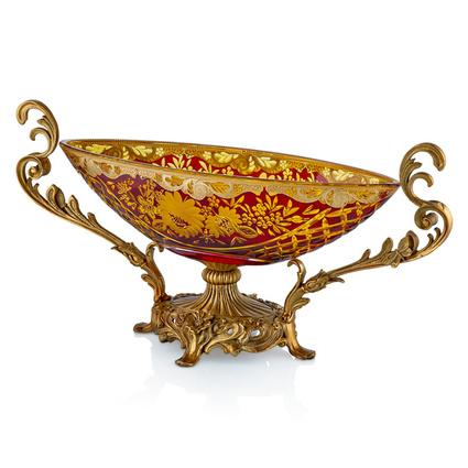Cemile Kırmızı Kesme Camlı Altın Desenli Meyvelik