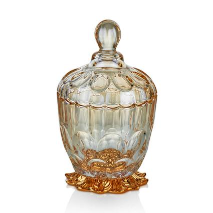 Cemile Altın Kaplama Amber Luster Kapaklı Minik Şekerlik
