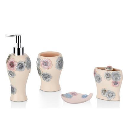Cemile Çiçek İşlemeli 4lü Banyo Seti