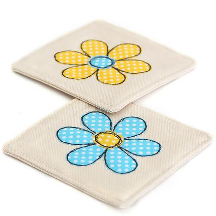 Baharın Renkleri Sarı/Mavi Çiçek Bardak Altlığı