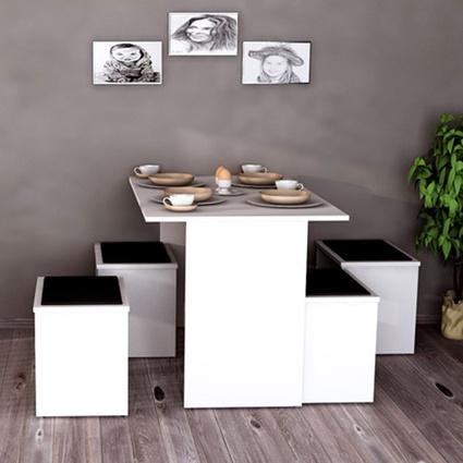 Sanal Mobilya Yemek Masası&Puf Takımı