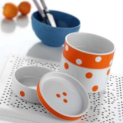 Kütahya Porselen 7519 Desen 4 Parça Katlı Porselen Saklama Kabı