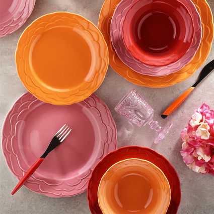 Kütahya Porselen Natura Ceram Athena 24 Parça Pembe Yemek Seti