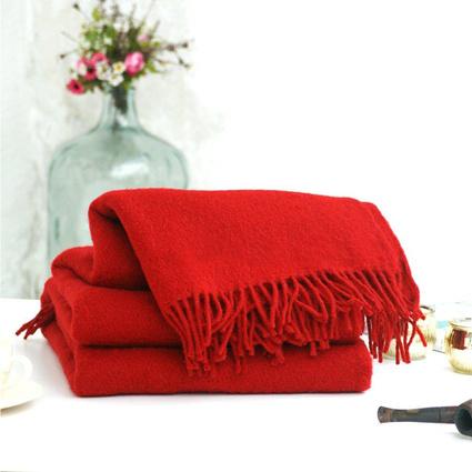 İkikız Woolmark Koltuk Şalı Yün Battaniye Kırmızı