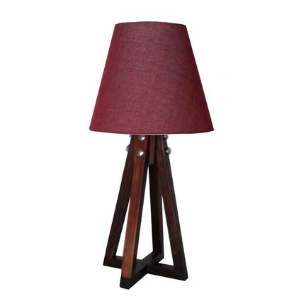 Ege Light 4 Ayaklı Abajur Ceviz-Kırmızı
