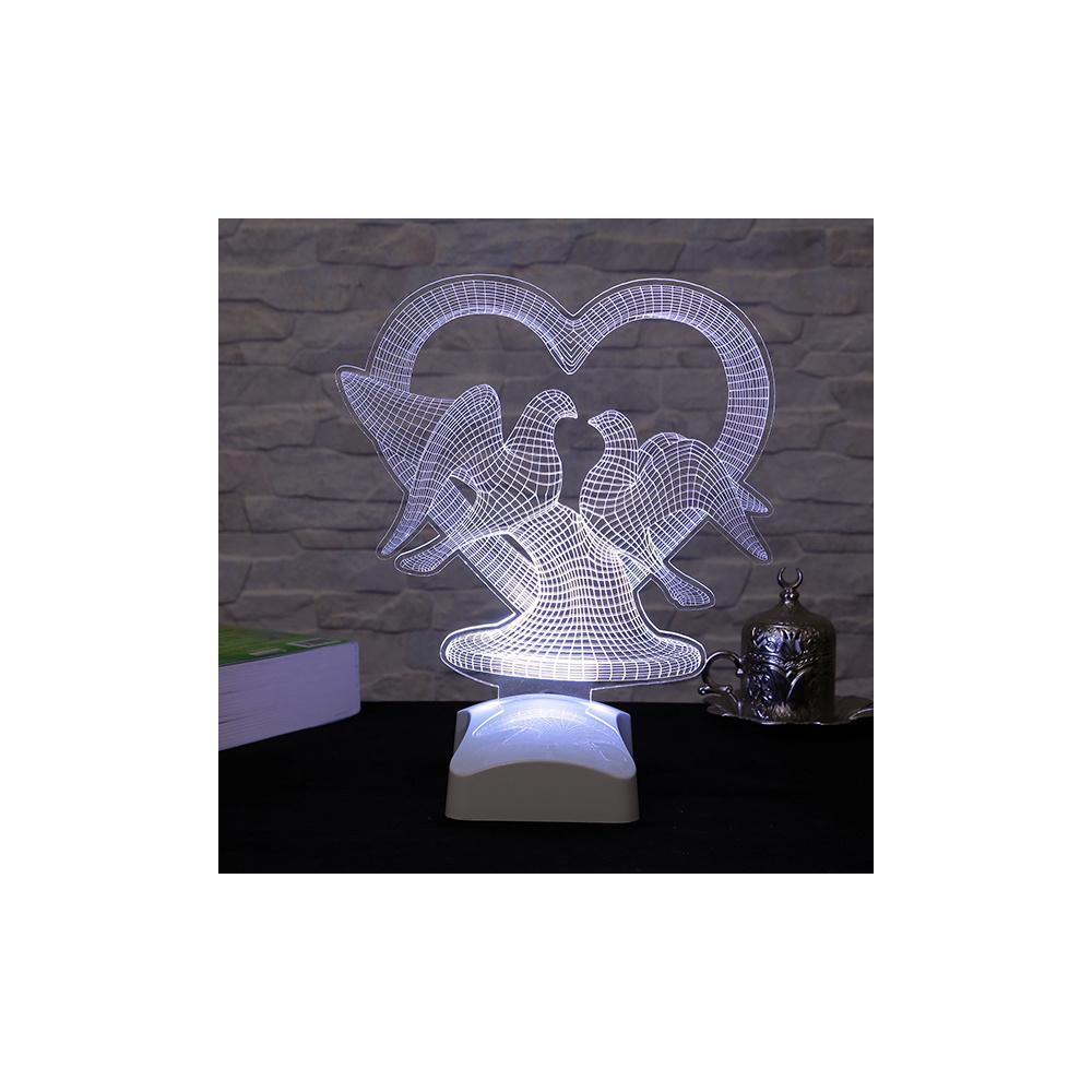 Dekorjinal 3 Boyutlu Kalp ve Güvercinler Lamba 23x26 Cm Ürün Resmi