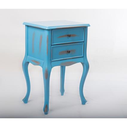Woodenbend Monty Eskitilmiş Mavi Komodin
