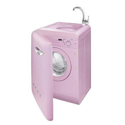Smeg LBL16RO Çamaşır Makinası Lavabolu+Bataryalı-Pembe