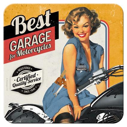 Nostalgic Art Best Garage Yellow Tekli Bardak Altlığı 9x9 Cm