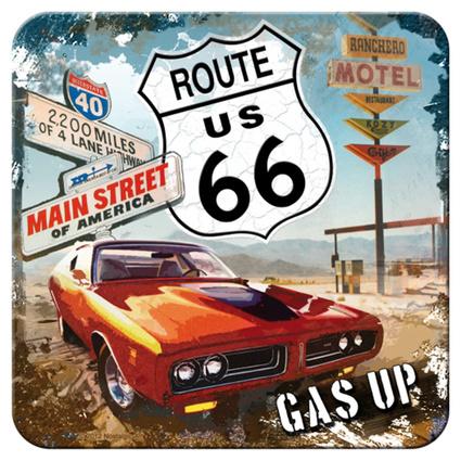 Nostalgic Art Route 66 Red Car Tekli Bardak Altlığı 9x9 Cm