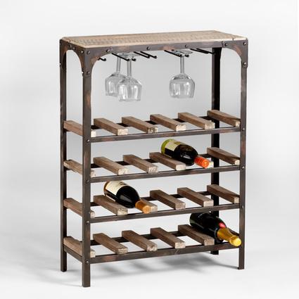 Urbanoloji Tanen Masif Ahşap Metal Şaraplık