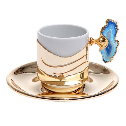Altıncı Cadde Mavi Doğal Taşlı Altın Rengi Tekli Kahve Fincanı