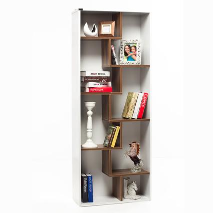 Evdebiz Zigzag Kitaplık Beyaz-Ceviz
