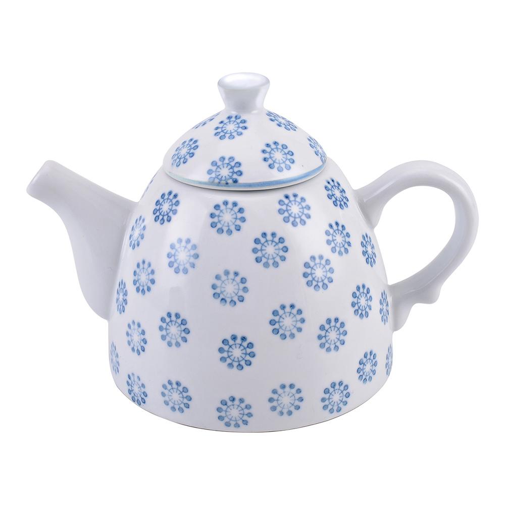 Mavi Çiçek Desenli Çaydanlık