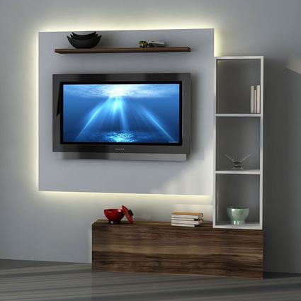 Sanal Mobilya TV Ünitesi Leon Ceviz/Beyaz