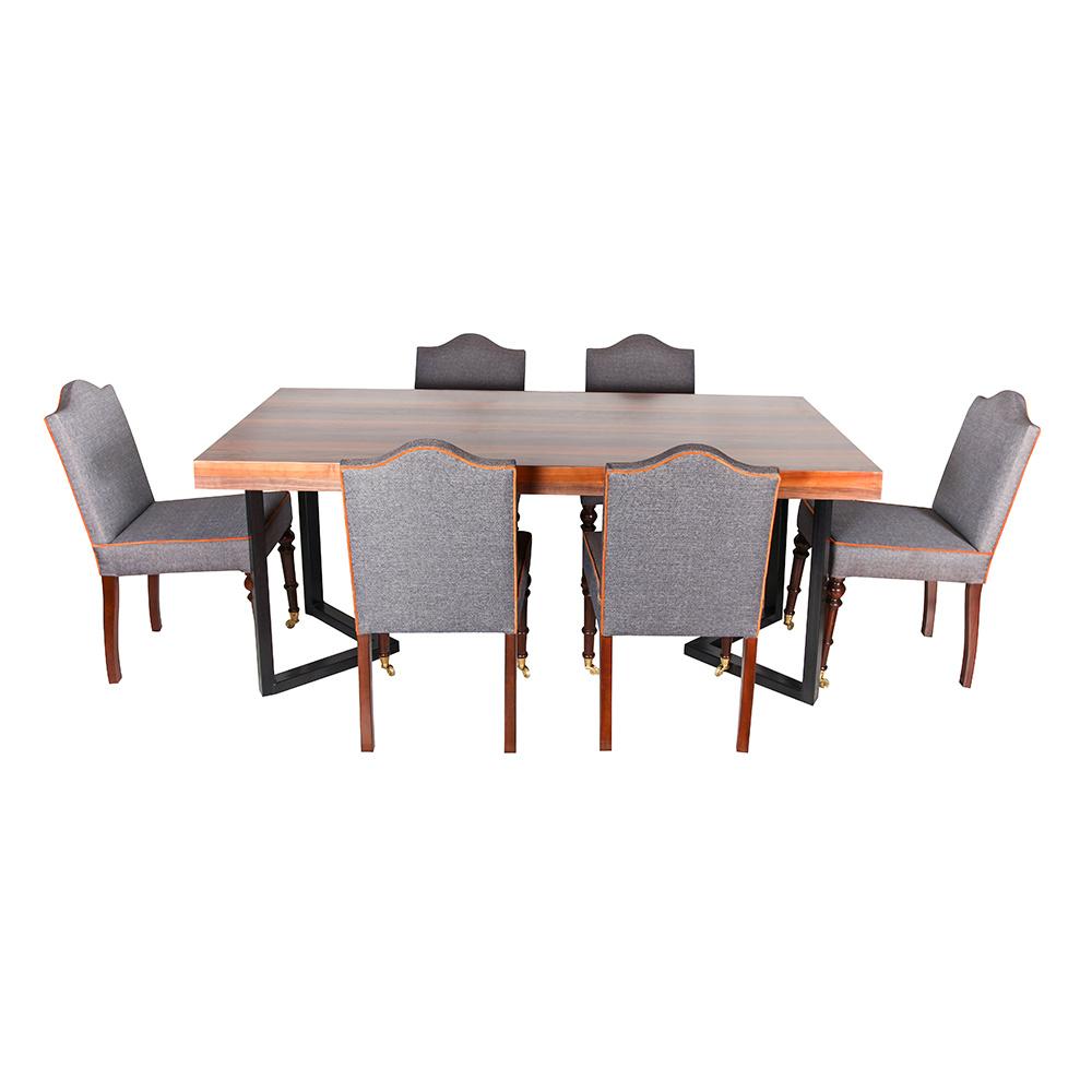 3A Mobilya Ceviz Metal Ayak Masa 6 Sandalye Ürün Resmi