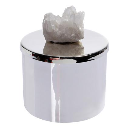 Altıncı Cadde Beyaz Ametist Taşlı Gümüş Mum&Mumluk 10x8cm