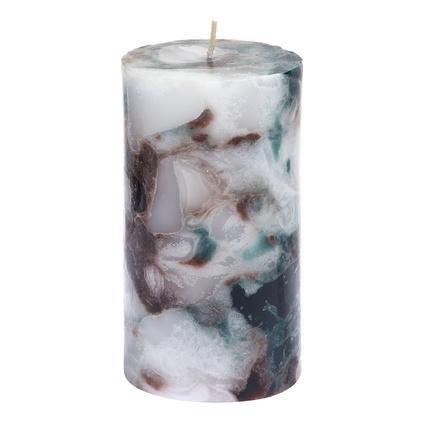 Altıncı Cadde Marble Silindir Mum Kahve - Beyaz- Petrol Yeşili Renk 7,5x13 Cm