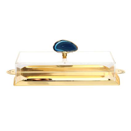 Altıncı Cadde Mavi Doğal Taşlı Altın Kaplama Sunum Tepsisi 30x20x7 cm
