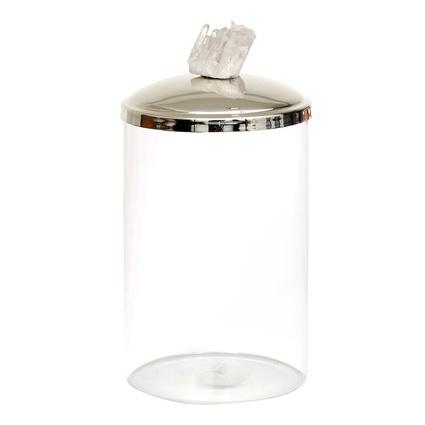 Altıncı Cadde Beyaz Kuvars Taşlı Gümüş Saklama Kavanozu 18Cm
