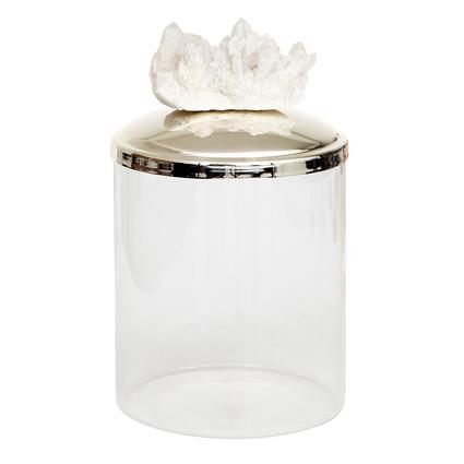 Altıncı Cadde Beyaz Kuvars Taşlı Gümüş Kaplama Cam Saklama Kavanozu 14 Cm