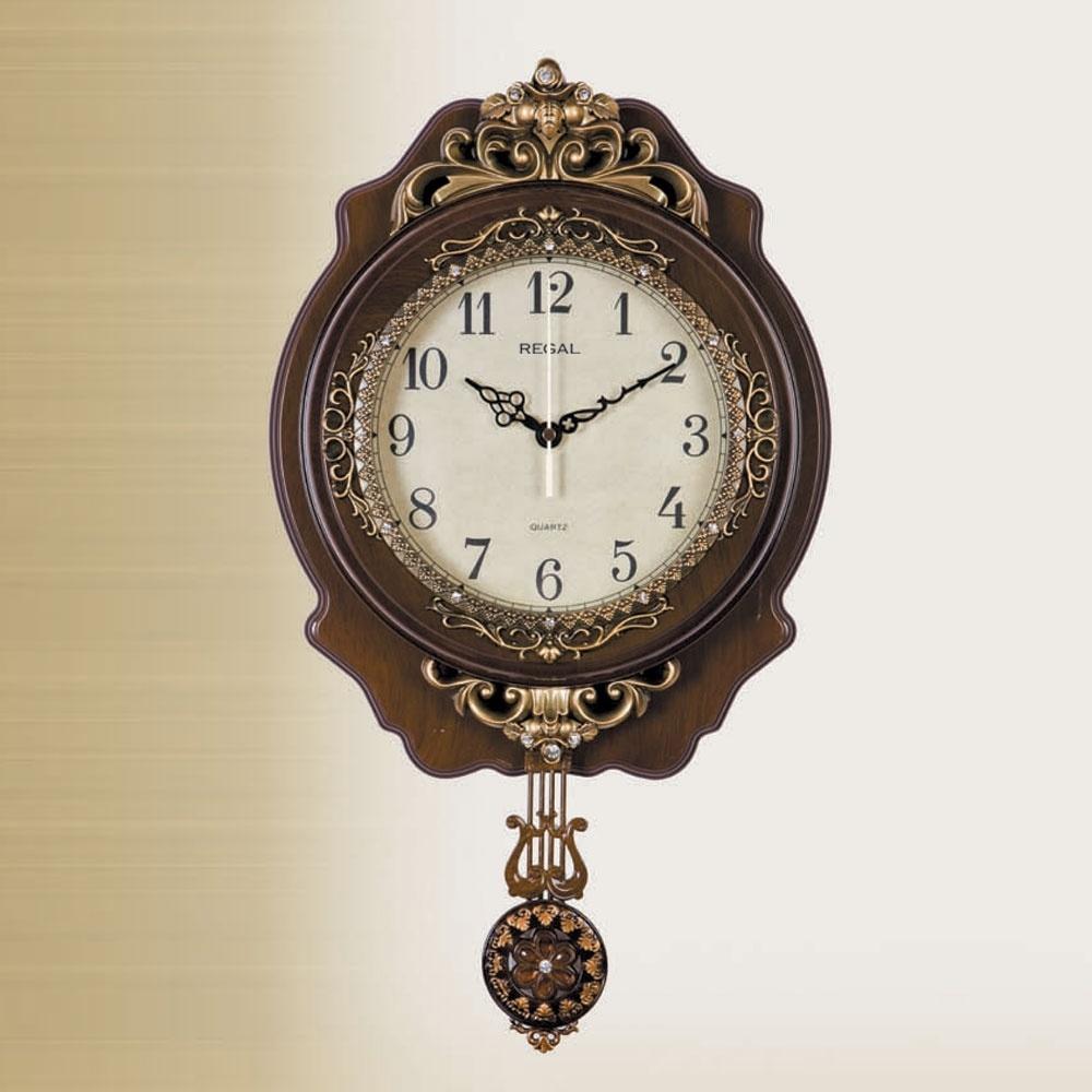 Regal Saat Küçük Ahşap Deseni Sarkaçlı Duvar Saati Ürün Resmi