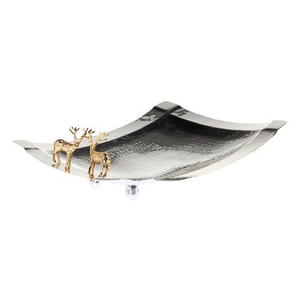 Altıncı Cadde Geyik Figürlü Gümüş Servis Tabağı 25x52cm