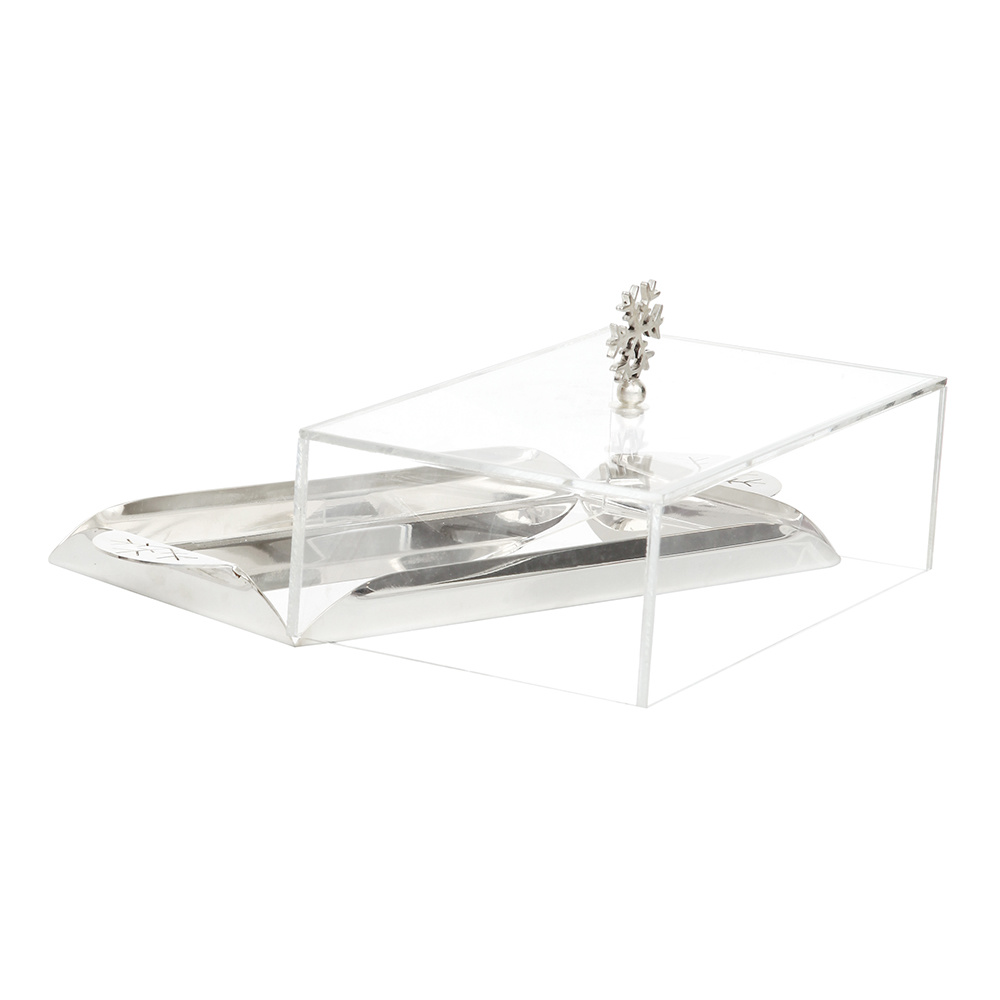 Gümüş Kar Taneli Gümüş Tepsi 26x17x10 cm