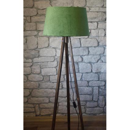 Ağaç Ustası Masif 3 Ayaklı Lambader Ceviz Renk Düz Yeşil Şapka