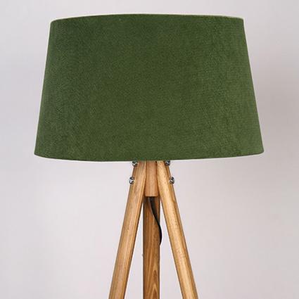 Ağaç Ustası Yuvarlak 3 Ayaklı Lambader Naturel Renk Koyu Yeşil Şapka
