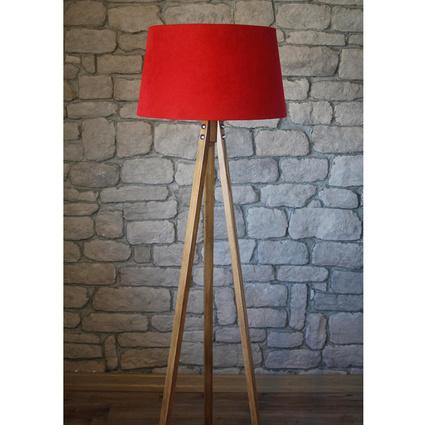 Ağaç Ustası Masif 3 Ayaklı Lambader Naturel Renk Düz Kırmızı Şapka