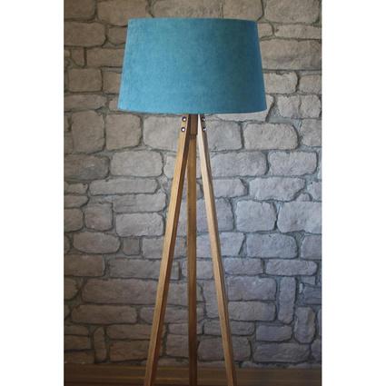 Ağaç Ustası Masif 3 Ayaklı Lambader Naturel Renk Düz Açık Mavi Şapka