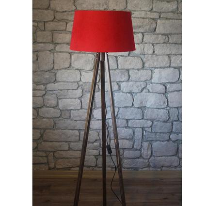 Ağaç Ustası Masif 3 Ayaklı Lambader Ceviz Renk Düz Kırmızı Şapka