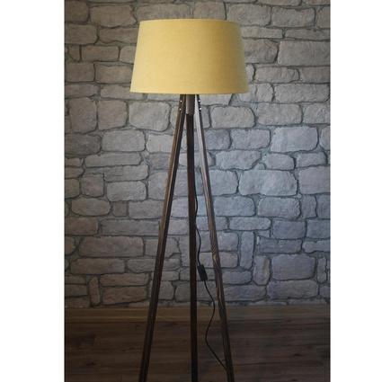Ağaç Ustası Masif 3 Ayaklı Lambader Ceviz Renk Düz Sarı Şapka