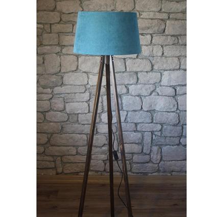 Ağaç Ustası Masif 3 Ayaklı Lambader Ceviz Renk Düz Açık Mavi Şapka