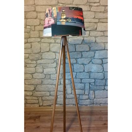 Ağaç Ustası Masif Oval 3 Ayaklı Lambader Ceviz Renk Düz İstanbul Şapka