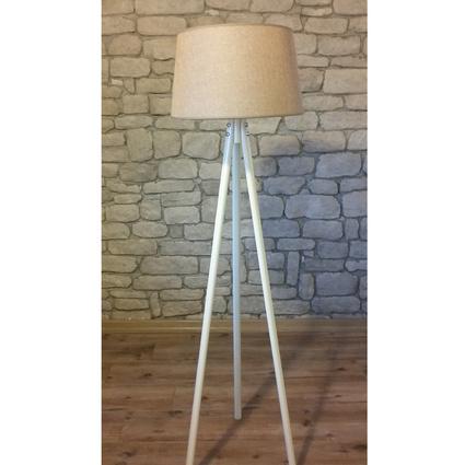 Ağaç Ustası Masif Oval 3 Ayak Lambader Beyaz Renk Keten Bej Şapka