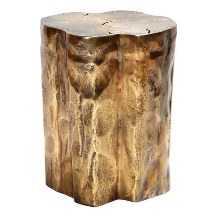 Altıncı Cadde Ağaç Formlu Eskitme Bronz Yan Sehpa 38Cm