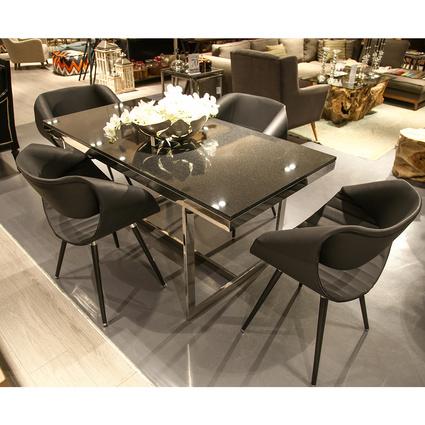 Altıncı Cadde Absolute Siyah Mermer Yemek Masası 160x80 Cm